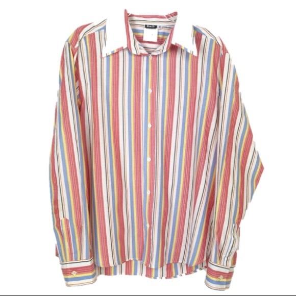 Dolce /& Gabbana Slim Fit Mens Multi-Color Striped Dress Shirts US 16 IT 41